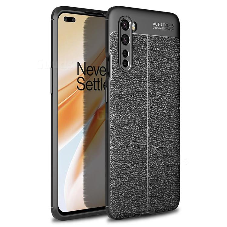Luxury Auto Focus Litchi Texture Silicone TPU Back Cover for OnePlus Nord (OnePlus 8 NORD 5G, OnePlus Z) - Black