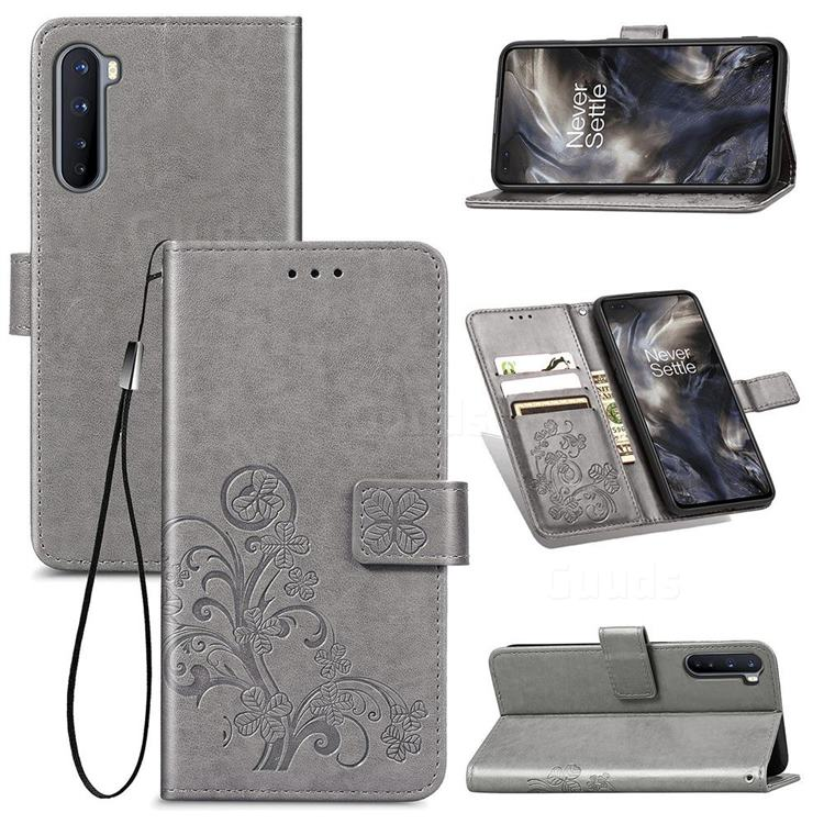 Embossing Imprint Four-Leaf Clover Leather Wallet Case for OnePlus Nord (OnePlus 8 NORD 5G, OnePlus Z) - Grey