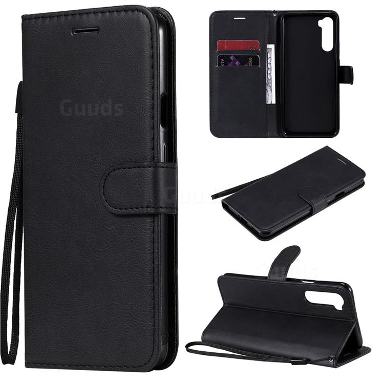 Retro Greek Classic Smooth PU Leather Wallet Phone Case for OnePlus Nord (OnePlus 8 NORD 5G, OnePlus Z) - Black