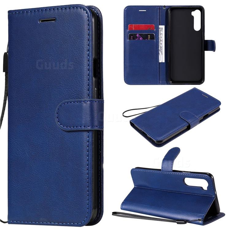 Retro Greek Classic Smooth PU Leather Wallet Phone Case for OnePlus Nord (OnePlus 8 NORD 5G, OnePlus Z) - Blue