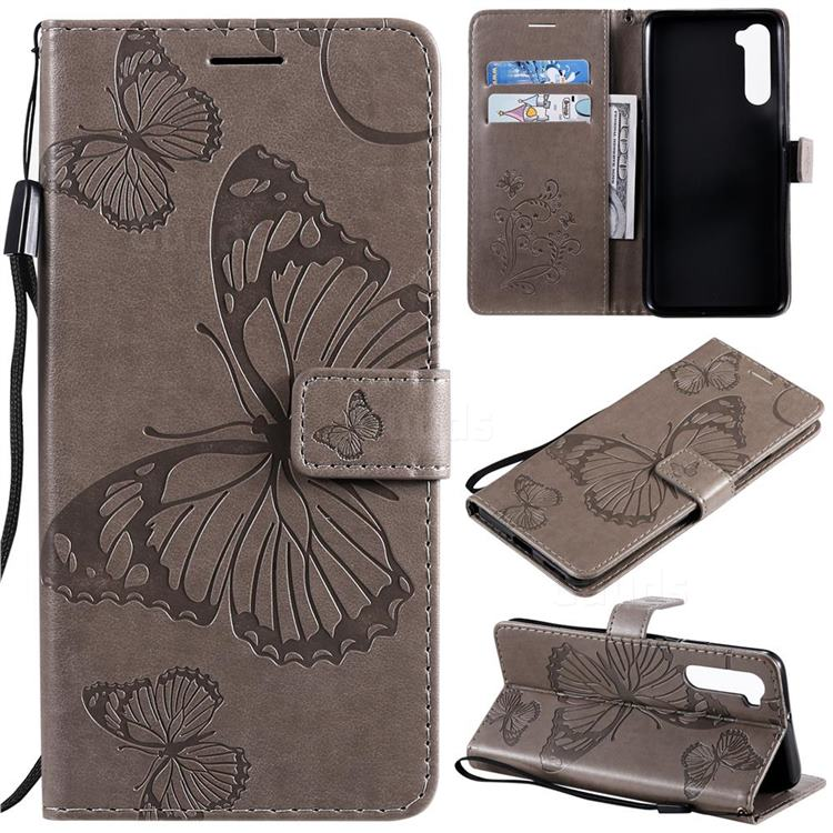 Embossing 3D Butterfly Leather Wallet Case for OnePlus Nord (OnePlus 8 NORD 5G, OnePlus Z) - Gray