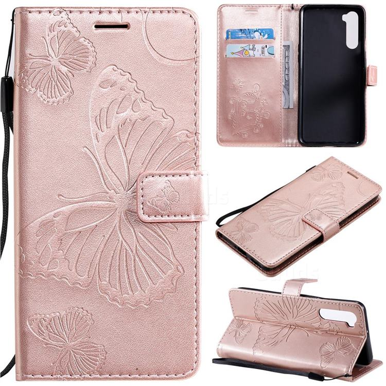 Embossing 3D Butterfly Leather Wallet Case for OnePlus Nord (OnePlus 8 NORD 5G, OnePlus Z) - Rose Gold