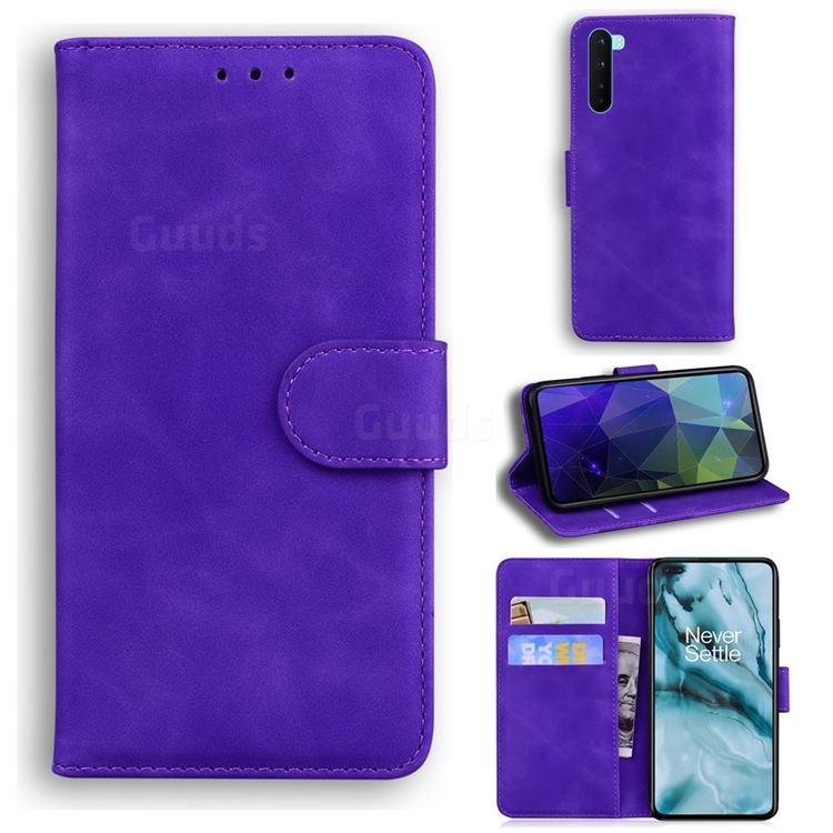 Retro Classic Skin Feel Leather Wallet Phone Case for OnePlus Nord (OnePlus 8 NORD 5G, OnePlus Z) - Purple