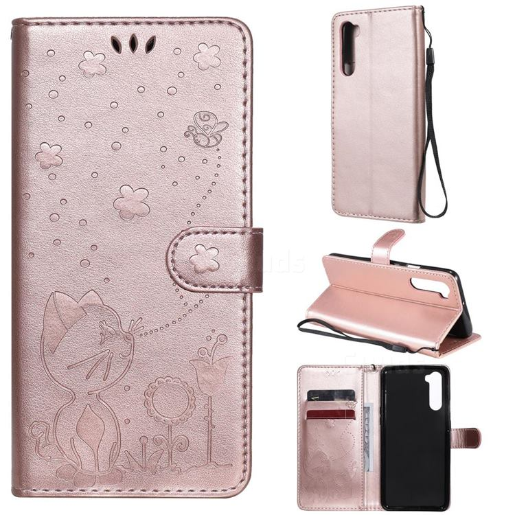 Embossing Bee and Cat Leather Wallet Case for OnePlus Nord (OnePlus 8 NORD 5G, OnePlus Z) - Rose Gold