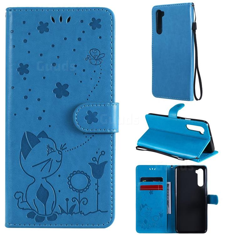 Embossing Bee and Cat Leather Wallet Case for OnePlus Nord (OnePlus 8 NORD 5G, OnePlus Z) - Blue
