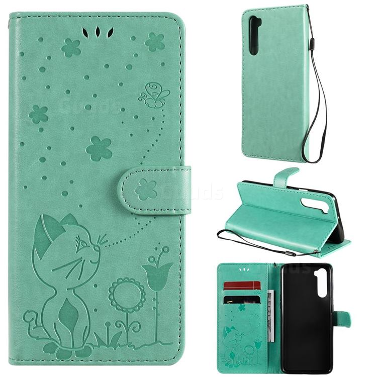 Embossing Bee and Cat Leather Wallet Case for OnePlus Nord (OnePlus 8 NORD 5G, OnePlus Z) - Green