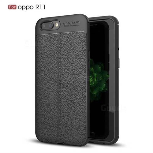 Luxury Auto Focus Litchi Texture Silicone TPU Back Cover for Oppo R11 - Black