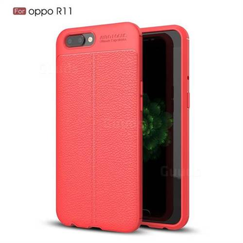 Luxury Auto Focus Litchi Texture Silicone TPU Back Cover for Oppo R11 - Red