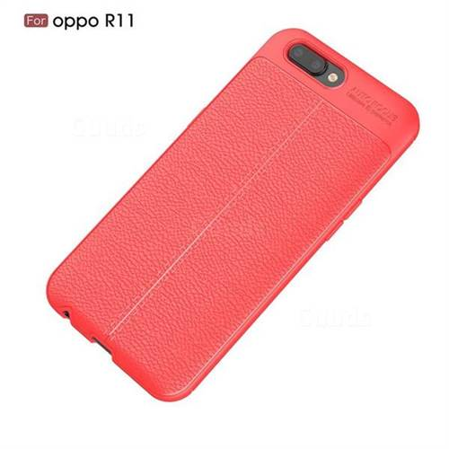 quality design 0320b 1712d Luxury Auto Focus Litchi Texture Silicone TPU Back Cover for Oppo R11 - Red