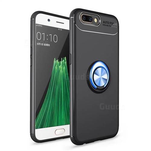 Auto Focus Invisible Ring Holder Soft Phone Case for Oppo R11 - Black Blue