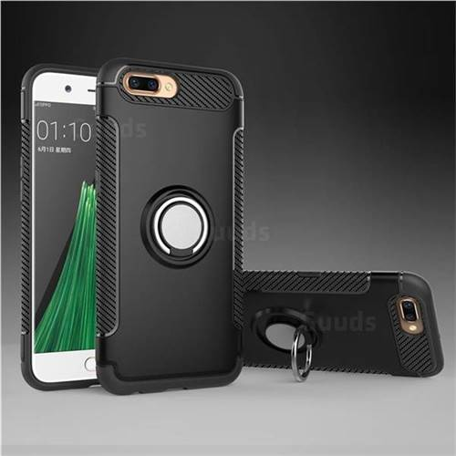 Armor Anti Drop Carbon PC + Silicon Invisible Ring Holder Phone Case for Oppo R11 - Black