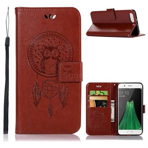 Intricate Embossing Owl Campanula Leather Wallet Case for Oppo R11 - Brown