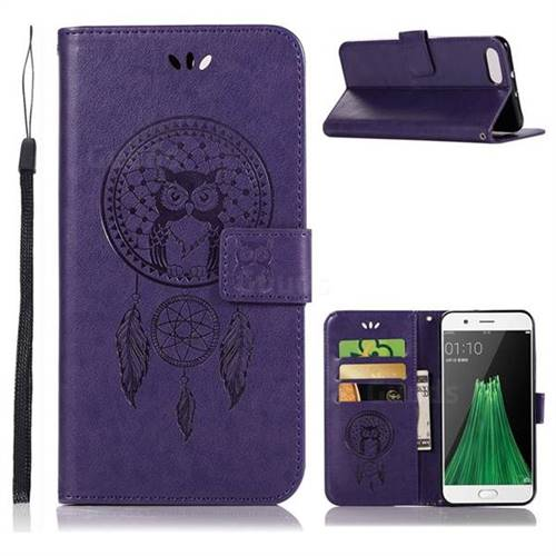 Intricate Embossing Owl Campanula Leather Wallet Case for Oppo R11 - Purple