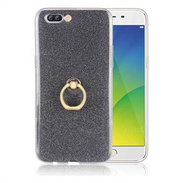 Luxury Soft TPU Glitter Back Ring Cover with 360 Rotate Finger Holder Buckle for Oppo R11 Plus - Black