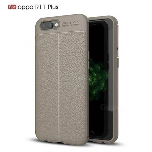 Luxury Auto Focus Litchi Texture Silicone TPU Back Cover for Oppo R11 Plus - Gray
