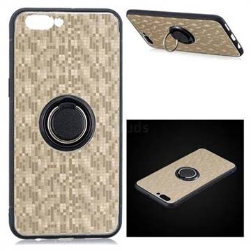 san francisco 67233 f7d74 Luxury Mosaic Metal Silicone Invisible Ring Holder Soft Phone Case for Oppo  R11 Plus - Titanium Gold