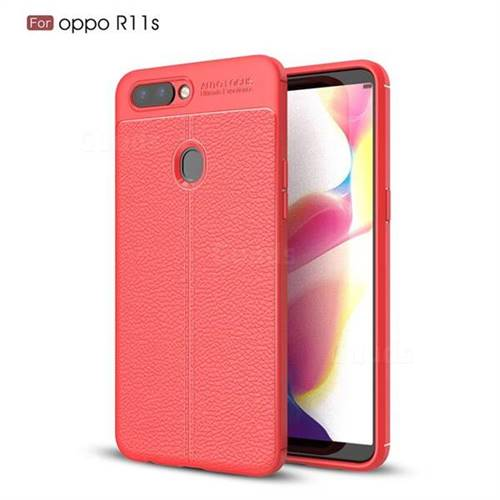 Luxury Auto Focus Litchi Texture Silicone TPU Back Cover for Oppo R11s - Red