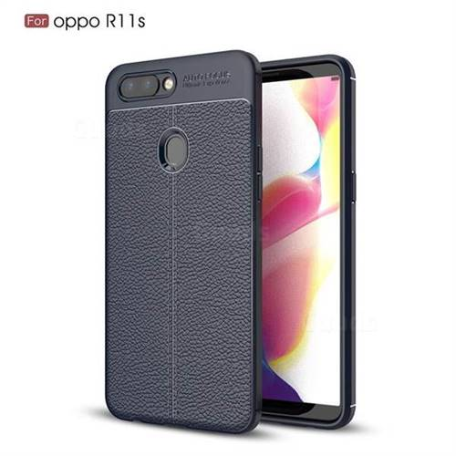 Luxury Auto Focus Litchi Texture Silicone TPU Back Cover for Oppo R11s - Dark Blue
