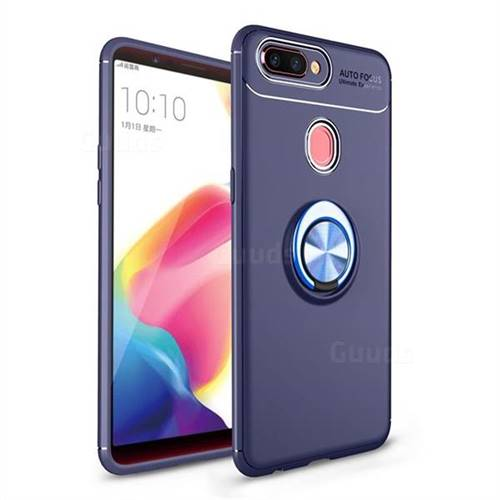 Auto Focus Invisible Ring Holder Soft Phone Case for Oppo R11s - Blue