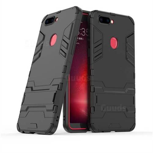 Armor Premium Tactical Grip Kickstand Shockproof Dual Layer Rugged Hard Cover for Oppo R11s - Black