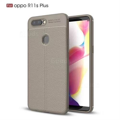 Luxury Auto Focus Litchi Texture Silicone TPU Back Cover for Oppo R11s Plus - Gray