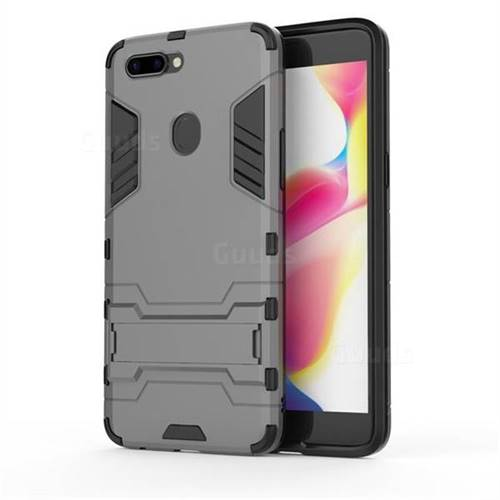 Armor Premium Tactical Grip Kickstand Shockproof Dual Layer Rugged Hard Cover for Oppo R11s Plus - Gray