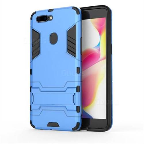 Armor Premium Tactical Grip Kickstand Shockproof Dual Layer Rugged Hard Cover for Oppo R11s Plus - Light Blue