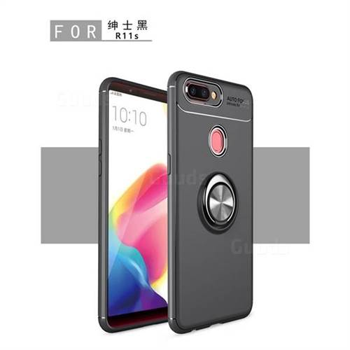Auto Focus Invisible Ring Holder Soft Phone Case for Oppo R11s Plus - Black