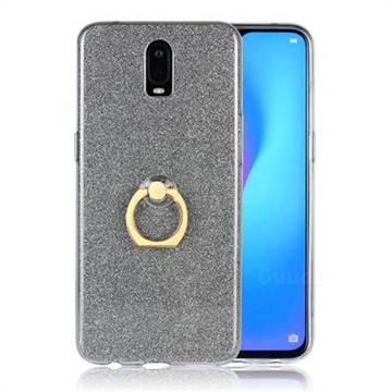 Luxury Soft TPU Glitter Back Ring Cover with 360 Rotate Finger Holder Buckle for Oppo R17 - Black