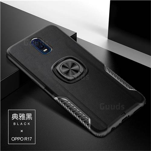 Knight Armor Anti Drop PC + Silicone Invisible Ring Holder Phone Cover for Oppo R17 - Black