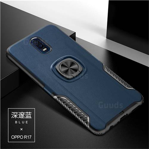 Knight Armor Anti Drop PC + Silicone Invisible Ring Holder Phone Cover for Oppo R17 - Sapphire