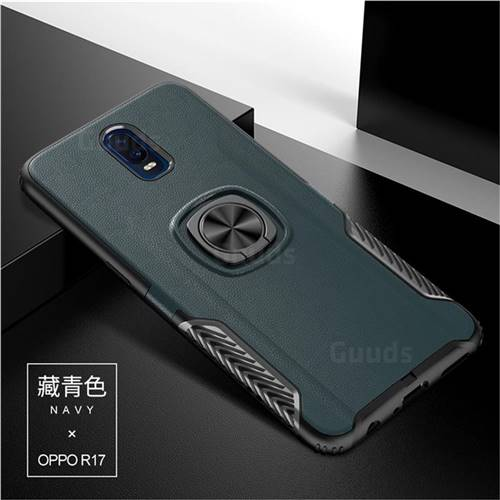 Knight Armor Anti Drop PC + Silicone Invisible Ring Holder Phone Cover for Oppo R17 - Navy