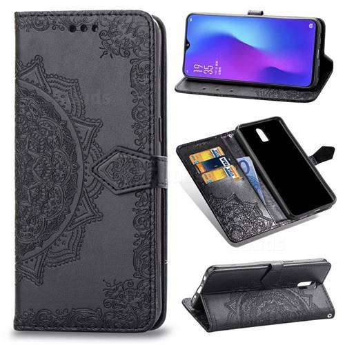 Embossing Imprint Mandala Flower Leather Wallet Case for Oppo R17 - Black
