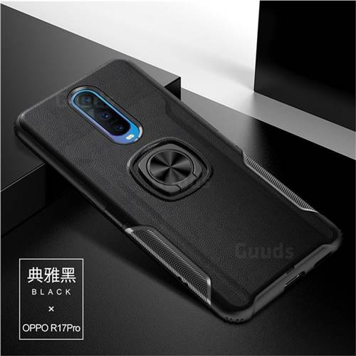 Knight Armor Anti Drop PC + Silicone Invisible Ring Holder Phone Cover for Oppo R17 Pro - Black