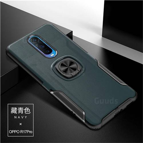 Knight Armor Anti Drop PC + Silicone Invisible Ring Holder Phone Cover for Oppo R17 Pro - Navy