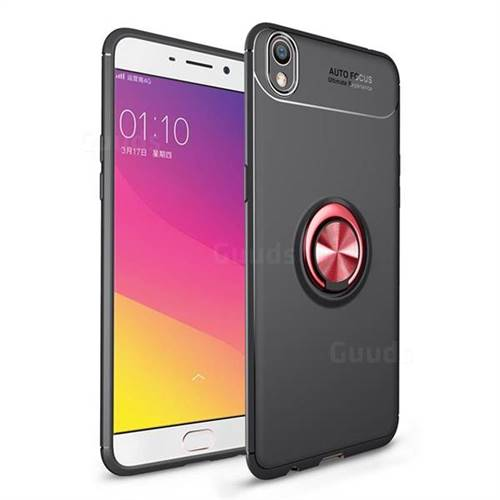 Auto Focus Invisible Ring Holder Soft Phone Case for Oppo R9 Plus - Black Red