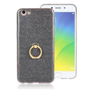 Luxury Soft TPU Glitter Back Ring Cover with 360 Rotate Finger Holder Buckle for Oppo R9s Plus - Black