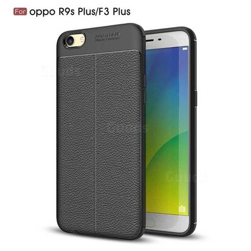 Luxury Auto Focus Litchi Texture Silicone TPU Back Cover for Oppo R9s Plus - Black