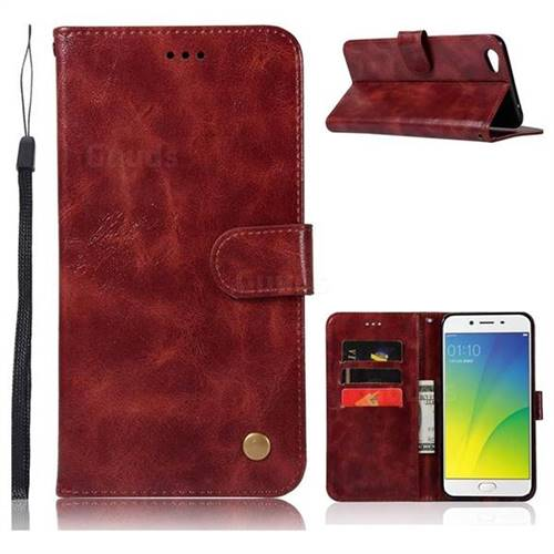 Luxury Retro Leather Wallet Case for Oppo R9s Plus - Wine Red