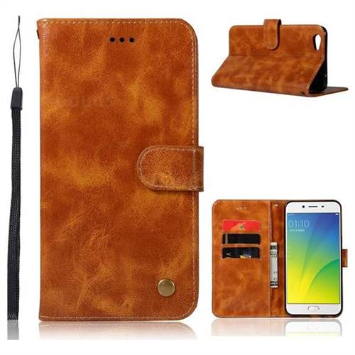 Luxury Retro Leather Wallet Case for Oppo R9s Plus - Golden