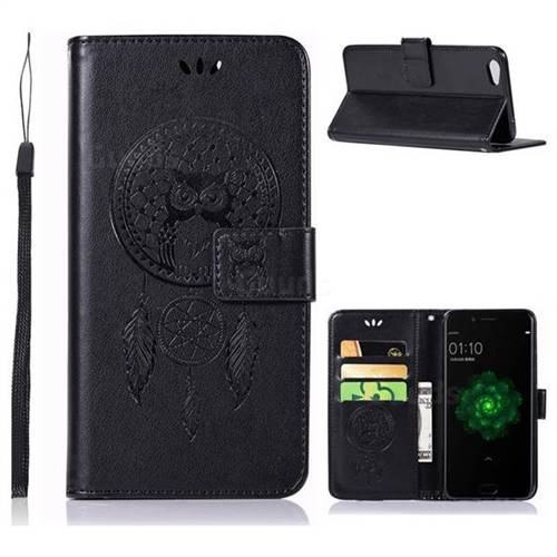Intricate Embossing Owl Campanula Leather Wallet Case for Oppo R9s - Black