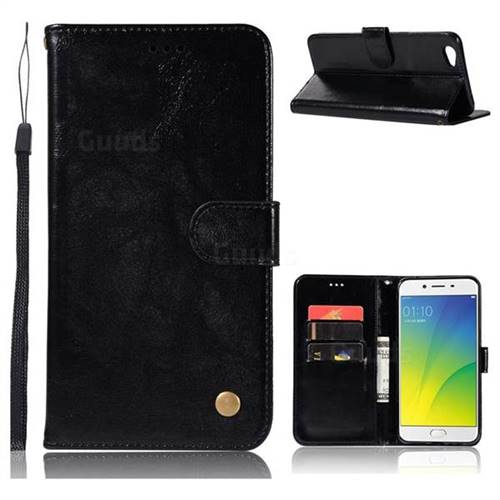 Luxury Retro Leather Wallet Case for Oppo R9s - Black