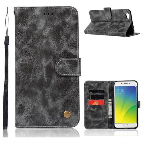 Luxury Retro Leather Wallet Case for Oppo R9s - Gray