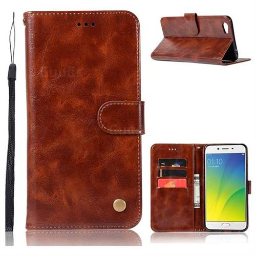 Luxury Retro Leather Wallet Case for Oppo R9s - Brown