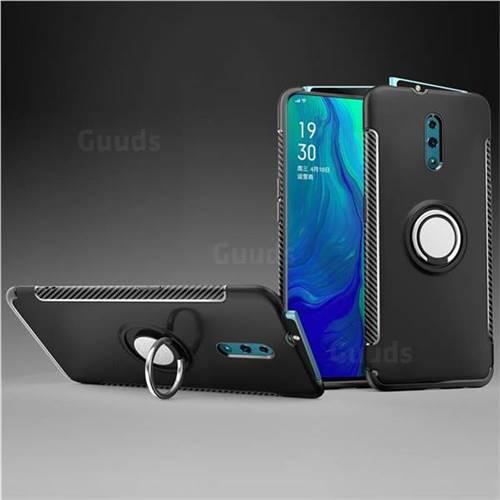 Armor Anti Drop Carbon PC + Silicon Invisible Ring Holder Phone Case for Oppo Reno - Black