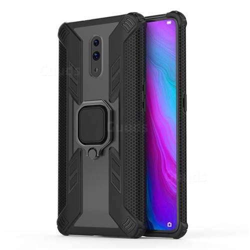 Predator Armor Metal Ring Grip Shockproof Dual Layer Rugged Hard Cover for Oppo Reno - Black