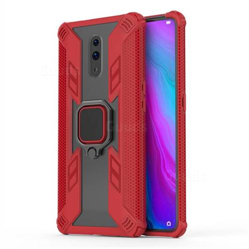 Predator Armor Metal Ring Grip Shockproof Dual Layer Rugged Hard Cover for Oppo Reno - Red