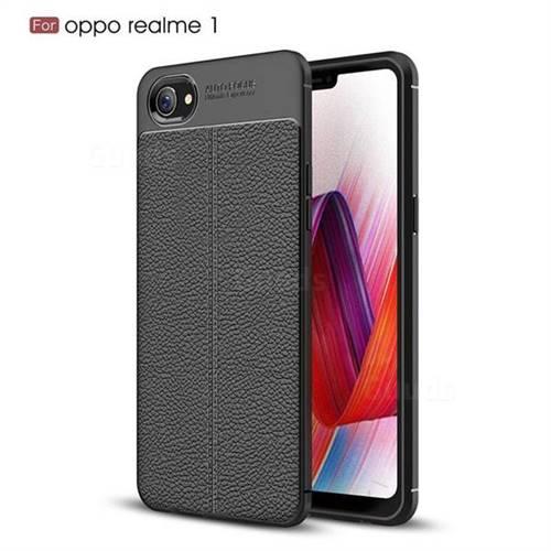 online retailer b0f56 b5e6c Luxury Auto Focus Litchi Texture Silicone TPU Back Cover for Oppo Realme 1  - Black - Oppo Realme 1 Cases - Guuds