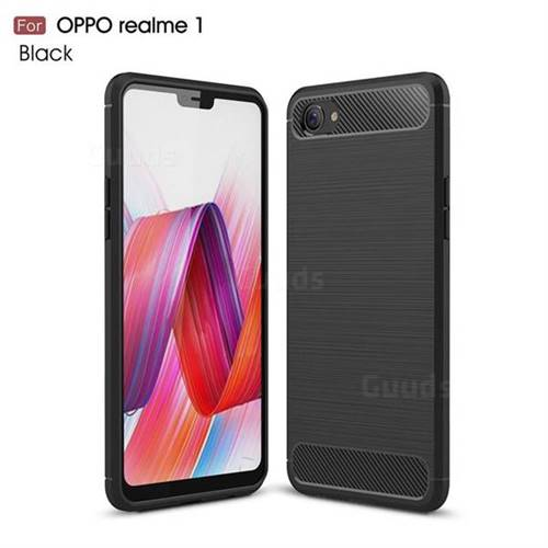 Luxury Carbon Fiber Brushed Wire Drawing Silicone TPU Back Cover for Oppo Realme 1 - Black
