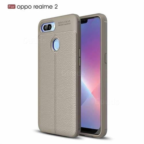 size 40 98682 4c964 Luxury Auto Focus Litchi Texture Silicone TPU Back Cover for Oppo Realme 2  - Gray